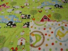 Green/White Farm Animal Double-sided Cotton/Flannel Baby/Toddler Blanket