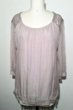 H Trend Silk chiffon, lace, and Sequins Blouse Made in Italy size L