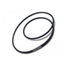NECKLACE CORD WOMAN MAN BLACK RUBBER CLASP MAGNETIC STEEL 21 11/16in NEW 7162