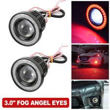 "2Pcs Red 3.0"" Projector LED Fog Light w/ COB Halo Angel Eyes Rings Driving Bulbs"