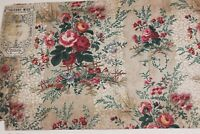French Antique Hand Blocked Chintz Fabric Sample c1870~Thierry-Mieg &Cie**