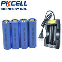 4x 18650 3.7V 2200mAh Lithium Rechargeable Flashlight Battery Flat Top + Charger