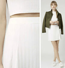Topshop Skirt Mini Knit Ribbed Sweater Flippy A-line Mod White 6 UK 10 S M