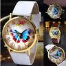 Casual Women Girl Fashion Butterfly Leather Strap Wrist Watch Analog Quartz Gift