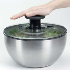 OxO Steel Salatschleuder, Edelstahl, 6 Liter, einhändige Anwendung, Bremse