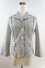 ANN TAYLOR LOFT ¾ Sleeve Striped Jacket Button Down w/ Floral Trim Detail Size 4