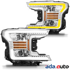 2018 2019 Ford F150 F-150 LED Tube Chrome Projector Headlights Pair