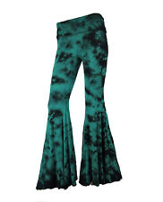 Sugar Rock Women Tie Dye Yoga Hippie Palazzo Pants Fold-Over Waist Bell Bottom