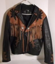 Men's Two Tone Cowboy Western Leather Jacket Coat With Fringe Size 46 Med.