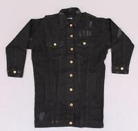 boohoo Women's Zoe Longline Distressed Denim Jacket SV3 Black Size US:4 NWT