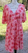 Torrid Plus Size 20 Floral V Neck Empire Wrap Coral Peach Pink Chiffon Dress BD