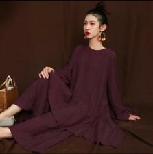 2019 Autumn New Large size Loose Cotton Linen Long-sleeved Tops + Wide Leg Pants