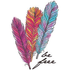 """""""Body Art"""" Temporary Tattoo, """"Be Free"""" Multi-Colored Feathers, USA Made"""