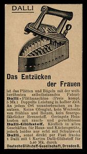 Alte Werbung Reklame 1910 Dalli (11) Plättmaschine Bügeleisen Plätteisen Dresden