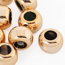 100 Moda Distanziatori Perle Perline Sfera Foro Largo Collana DIY Dorato 15x10mm