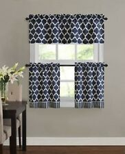 "Fretwork Window Valance & Tier Set, Rich Navy,  3 Piece, Modern Size: 58"" x 24"""