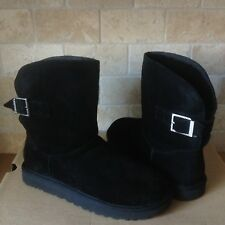 UGG Remora Buckle Crystal Bling Black Suede Fur Short Boots Size US 11 Womens