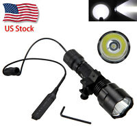 US Ship Tactical 5000LM T6 LED Flashlight+Pressure Switch + Picatinny Rail Mount