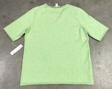 Belford Womens Basic Cotton Sweater SS Crew Neck Key Lime Green ( 04353EE ) NWT!