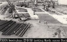 Postcard-size Photo - Piling at Immingham Dock, Lincolnshire. Dated 1958.