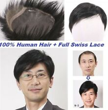 Full swiss lace 100% human hair replacemnet system men's toupee topper for men