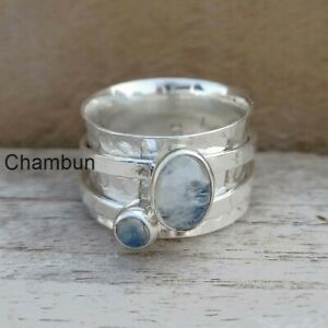 Moonstone 925 Sterling Silver Spinner Ring Handmade Women Jewelry All Size  2