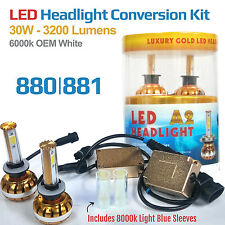 880-881 - 6000K White - LED Headlight Conversion Kit 30W COB + 8000k Blue Sleeve