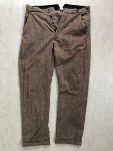 LEVI'S VINTAGE CLOTHING Wool Pants suspender buttons cinch LVC W30 L32 Sunset US