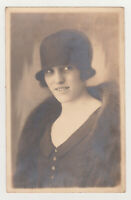 Pretty Young Stylish Woman Cute Girl Lady Female Dress Hat 1920s Antique Photo