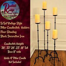 5/Set Vintage Colonial Style Pillar Candlestick Floor Standing Black Iron