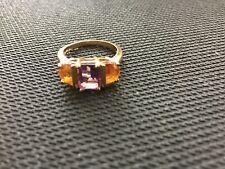 10K Gold, Amethyst & Citrine Ladies' Ring, Size 7 - Estate