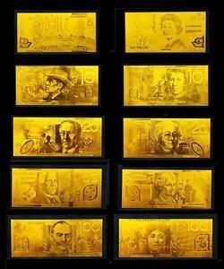 24KT Limited Edition 99.99% Gold Australian Bank Note Set Rare Banknote Album