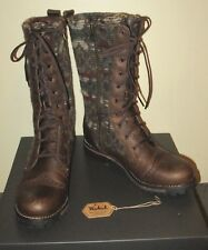 Woolrich Santa Fe Brown Leather Blanket Wool Combat Lace Up Zipper Boots sz 9