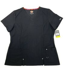 Dickies Xtreme stretch womens v neck scrub shirt NEW size XL black short sleeve