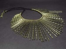N1963 Alloy Metal Bohemian Tribal Statement Collar Fringe Necklace India ethnic