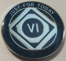 Just For Today Narcotics Anonymous Blue 6 Year / Month Medallion Clean Na Silver