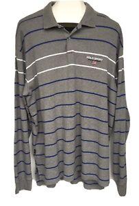 Vtg Polo Sport Ralph Lauren Rugby Shirt Gray Blue White Striped Flag Logo XL