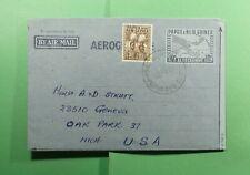 DR WHO 1957 PAPUA NEW GUINEA PORT MORESBY UPRATED AEROGRAMME TO USA  f52765