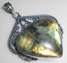 AWESOME-FREE-SHIPPING-FIRE-LABRADORITE-GEMSTONE-ANTIQUE-925 SILVER PENDANT E49