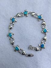 NEW STERLING SILVER & OPAL NAUTICAL MARINE SEALIFE  LOGGERHEAD TURTLE BRACELET