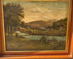ANTIQUE HUSDSON RIVER VALLEY PAINTING /CROPSEY,COLE INFLUENCES :1800s FOLK ART