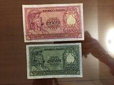 LOTTO 2 BANCONOTE LIRE 50 100 ITALIA ELMATA 1951 DI CRISTINA numismatica SABAUDA