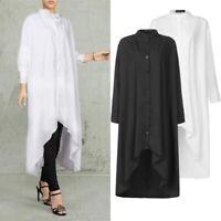 UK Womens Long Sleeve High Low Dress Casual Loose Maxi Kaftan Dresses Plus Size