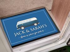 Personalised Camper Van blue Holiday in-door mat 60 x 40 cm