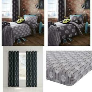 Kids Skulls Duvet Set Reversible Bedding Curtain Bed Sheet Catherine Lansfield