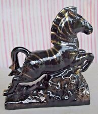 "Black Zebra w/ Gold Stripes Clay Figurine 8 1/2"" Tall"