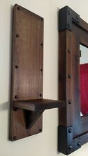 Wall sconces candle holders/Vintage Mid Century Style sconce rustic wood pair