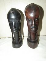VINTAGE AFRICAN HEAVY EBONY WOOD CARVINGS STATUES MAN WOMAN HAND CARVED AFRICA