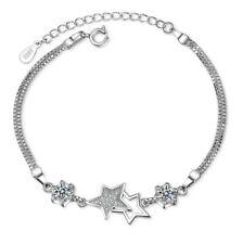"8"" Sterling Silver Clear Cubic Zirconia Amethyst Star Love Bangle Bracelet B1"