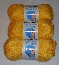 "Bernat Softee ""Baby"" Chunky Yarn Lot Of 3 Skeins (Buttercup #96014) 5 oz."